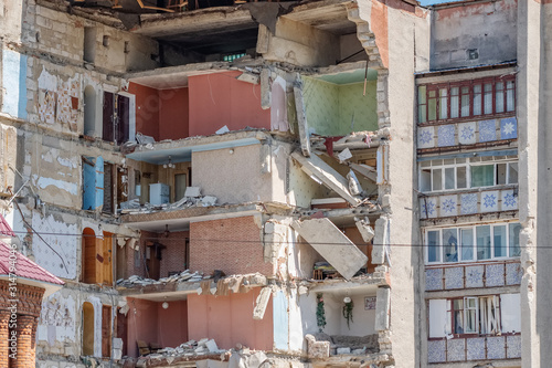 Leinwand Poster Residential building collapsed after gas explosion