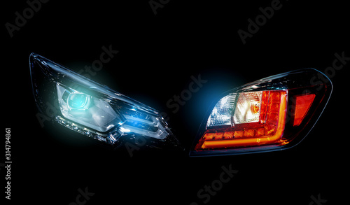 Photo Car tail lights separated from the background cliping part