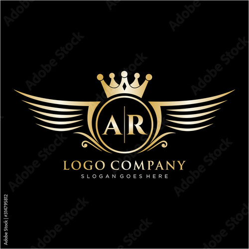 AR Letter Initial with Royal Wing Logo Template. Canvas Print