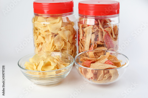 crab chips snack and arrowhead chips traditional for Chinese new year Canvas Print