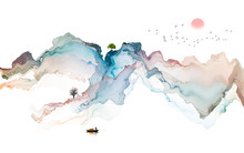 Ink Landscape Decoration Illus...