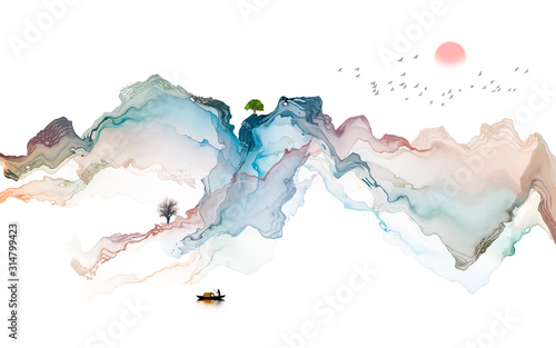 Murale ścienne  ink-landscape-decoration-illustration-abstract-line-poster-background