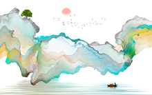 Ink Landscape Decoration Illus...