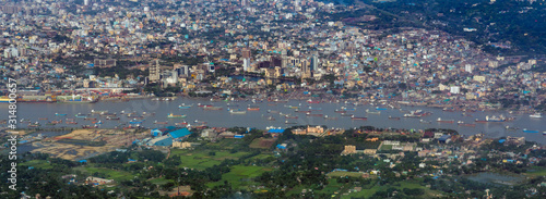 Leinwand Poster Aerial view of karnaphuli river at Chittagong city, Bangladesh
