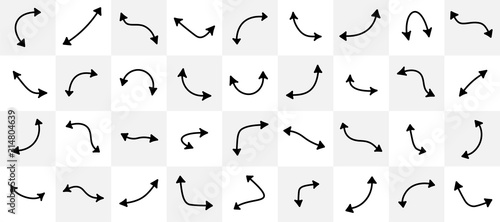 Set of black curved arrows isolated on light background. Wallpaper Mural