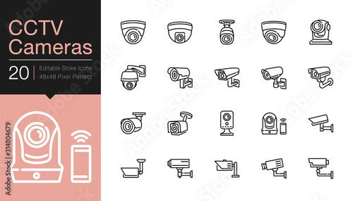 CCTV Cameras & Security Camera Systems icons Canvas Print