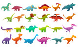 Fototapeta Dinusie - Dinosaur icons set. Cartoon set of dinosaur vector icons for web design