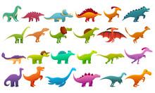 Dinosaur Icons Set. Cartoon Se...