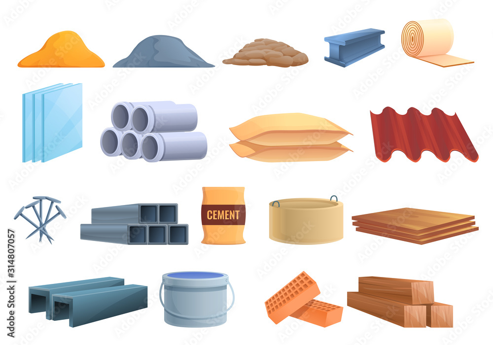 Fototapeta Construction materials icons set. Cartoon set of construction materials vector icons for web design