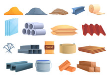 Construction Materials Icons S...