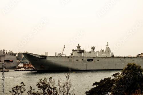 Carta da parati A dramatic shot of the Australian navy battleship at the Sydney Harbour