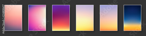 Obraz Set of colorful sunset and sunrise sea. Blurred modern gradient mesh background paper cards. - fototapety do salonu