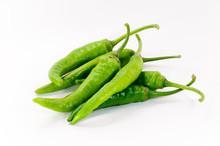 Green Chilli On White Background