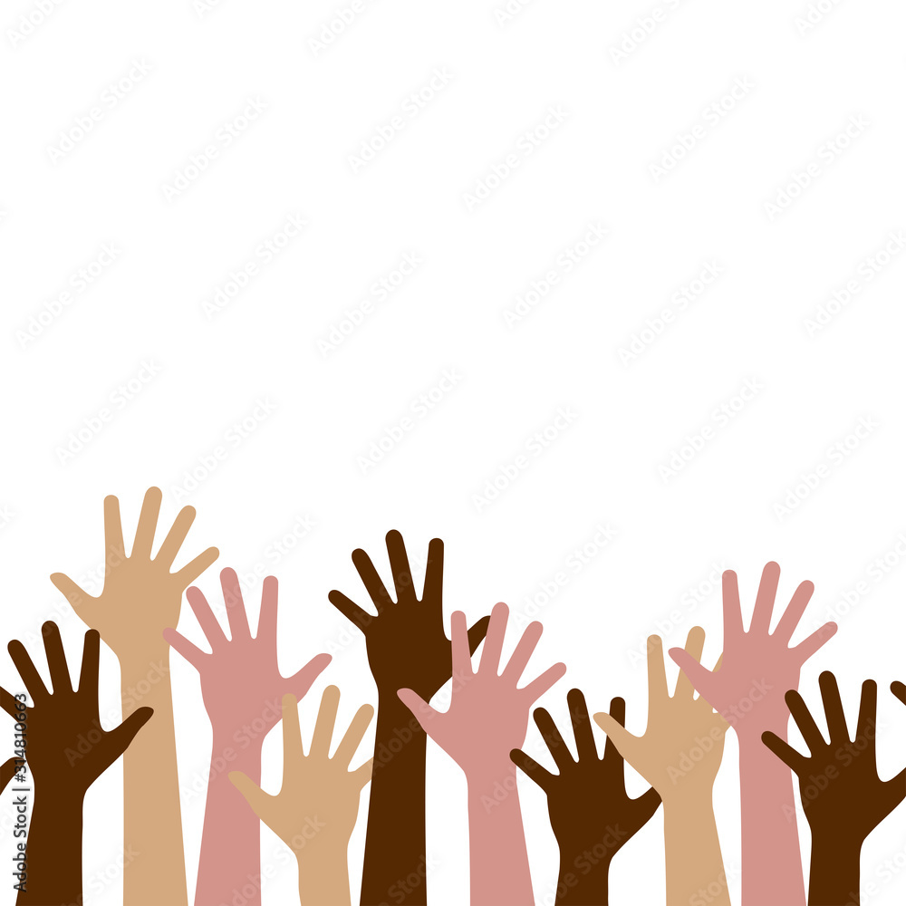 Fototapeta Multicultural crowd of people with hands up, teamwork of multinational team, horizontal seamless pattern