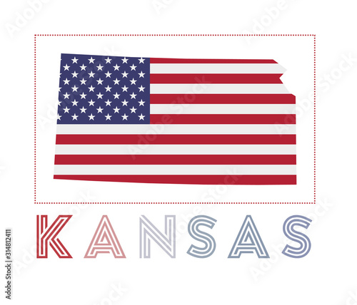 Fototapeta Kansas Logo. Map of Kansas with us state name and flag. Powerful vector illustration. obraz na płótnie