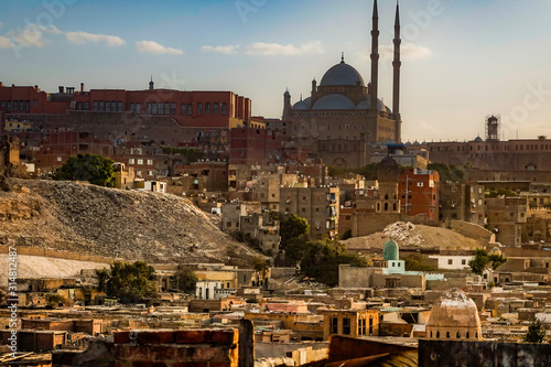 Cairo, Egypt, The Muhammed Ali mosque and the Citadel. Canvas Print