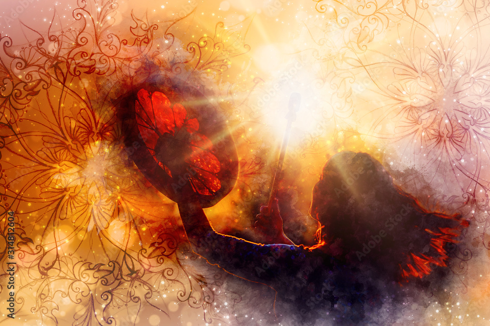 shamanic girl with frame drum on abstract structured background.