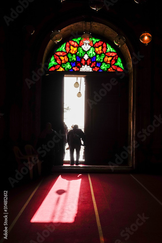 Cairo, Egypt People entering the interior  of the Muhammed Ali mosque Canvas Print