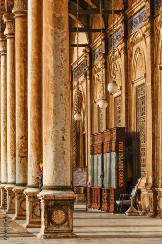 Cairo, Egypt A stand on the grounds  of the Muhammed Ali mosque offering free books about Islam Canvas Print