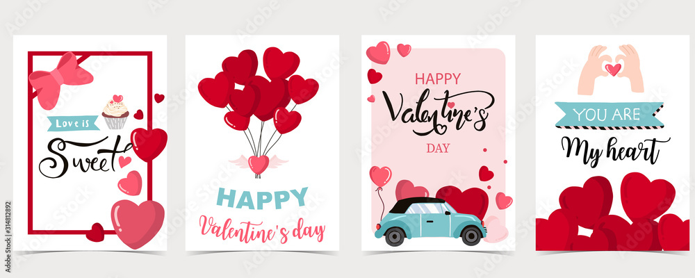 Fototapeta Collection of valentine's day background set with heart,balloon.Editable vector illustration for website, invitation,postcard and sticker
