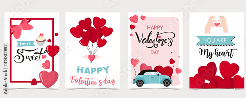 Fotografie, Tablou Collection of valentine's day background set with heart,balloon