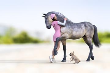 毛並の綺麗なグレーの馬と抱き合うピンク色のワンピースを着た女性と一緒に楽しそうにしているフレンチブルドッグ