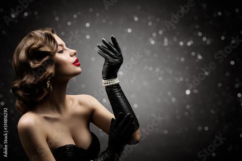 Obraz na plátně Woman Beauty Retro Hair Style, Fashion Model Make Up Hairstyle, Elegant Lady Blo