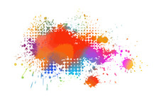 Multi-colored Spots Of Paint O...