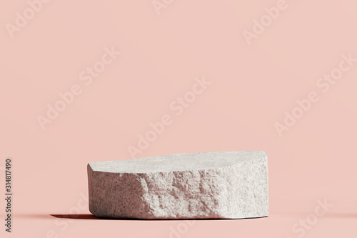 Stone podium product on pastel pink background. 3d rendering Fototapete