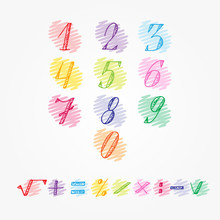 Colorful Numbers - Hand Drawn Doodle Set