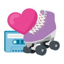 Roller Skate With Heart And Ca...
