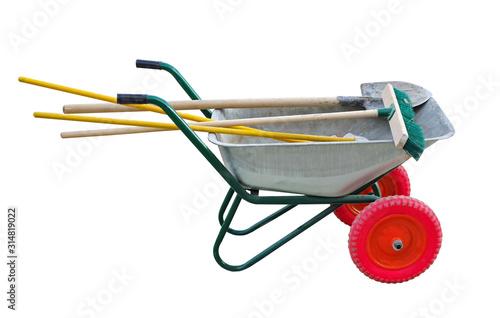 garden cart with shovel and brushes Fototapet