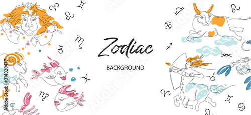 Vászonkép Zodiac background