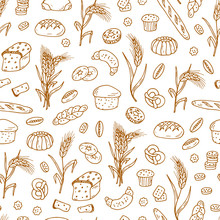 Bread Products. Hand Drawn Doodles Bakery And Wheat Ears - Vector Seamless Pattern