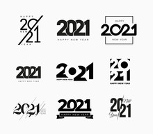 Set Of 2021 Happy New Year Signs. Big Collection Of 2021 Happy New Year Symbols. Greeting Card Artwork, Brochure Template. Vector Illustration With Black Holiday Labels Isolated On White Background