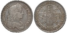 Great Britain British Silver Coin 1 One Crown 1673, Laureate Head Of King Charles II Right, Four Crowned  Shields With Lion, Harp And Lilies Forming Cross, Monogram Between,