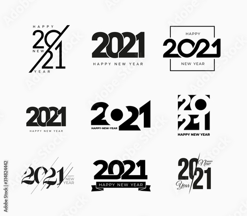 Papel de parede Set of 2021 Happy New Year signs
