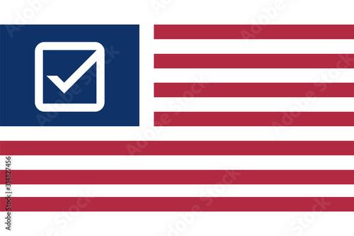 Valokuvatapetti American flag with checkmark symbol instead stars.