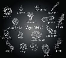 Vegetables, Food, Chalk Isolat...