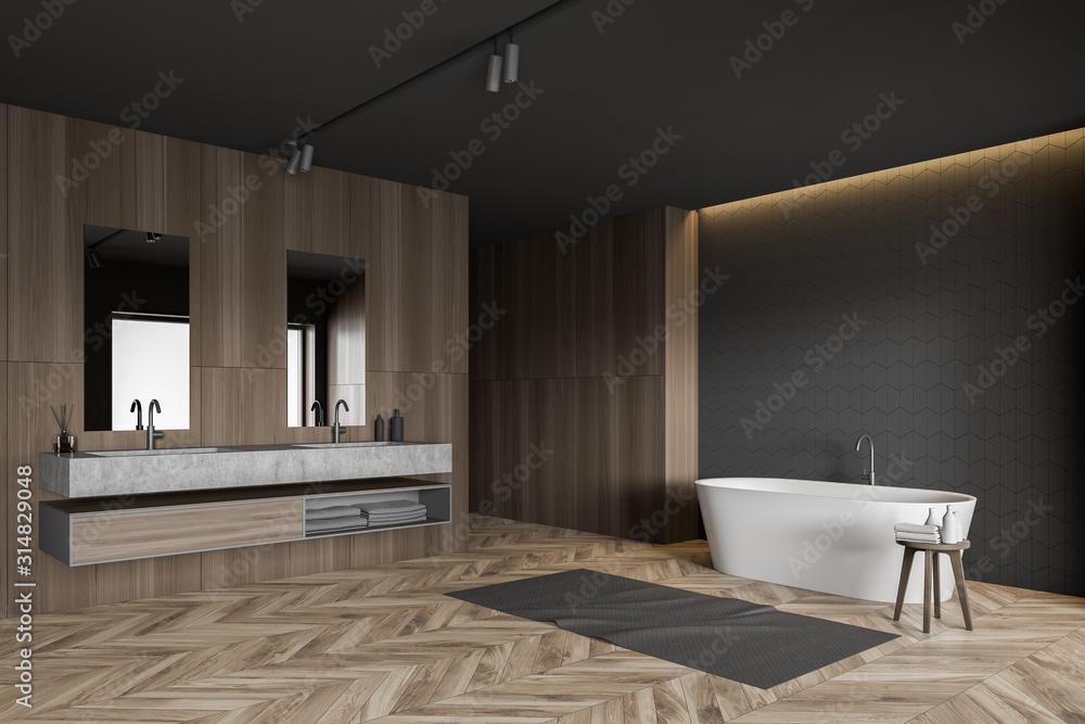 Fototapeta Gray tile and wood bathroom corner
