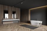 Fototapeta Kawa jest smaczna - Gray tile and wood bathroom corner