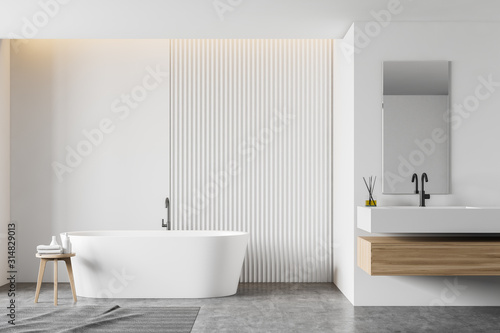 White bathroom interior with tub and sink Tablou Canvas
