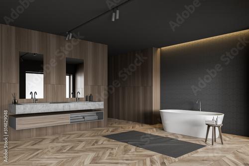Obraz Gray tile and wood bathroom corner - fototapety do salonu