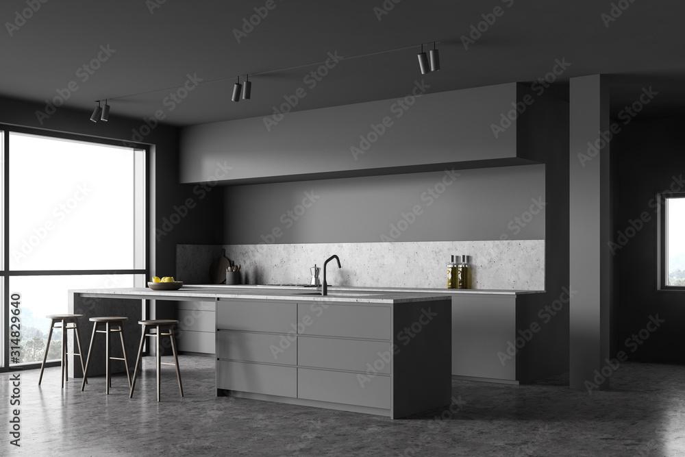 Fototapeta Loft gray kitchen corner with bar