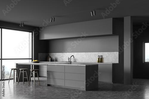 Obraz Loft gray kitchen corner with bar - fototapety do salonu