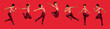 canvas print picture - Panoramic collage of jumping sporty girl over red background