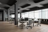 Fototapeta Kawa jest smaczna - Panoramic open space office corner