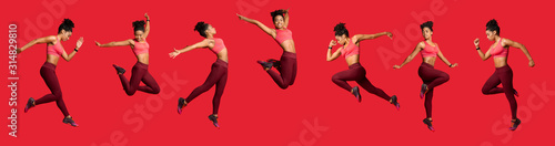 Panoramic collage of jumping sporty girl over red background