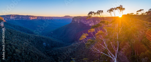Landscape Sunrise of Blue Mountains, Sydney, Australia Canvas Print
