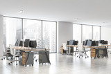 Fototapeta Kawa jest smaczna - White and wooden open space office corner